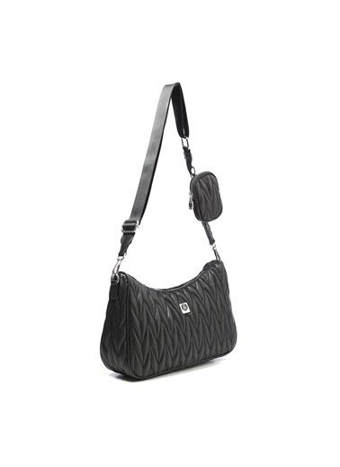 TH Bags TH Bags 1THCW2021032 Fermuarlı Örgü Desenli Cüzdanlı Kadın Omuz Çantası Siyah